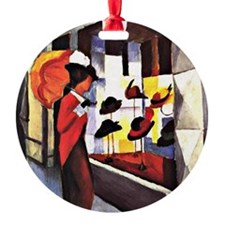 August Macke - The Hat Shop Round Ornament