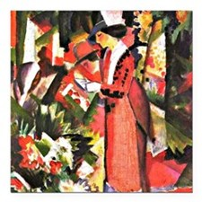 "August Macke - Walk in F Square Car Magnet 3"" x 3"""