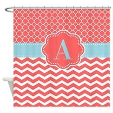 Coral Blue Chevron Monogram Shower Curtain