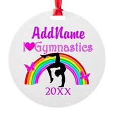 STRIKING GYMNAST Round Ornament
