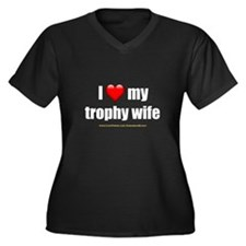 """Love My Trophy Wife"" Women's Plus Size V-Neck Dar"