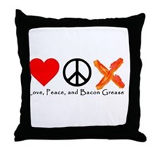 Love Peace and Bacon Grease Throw Pillow