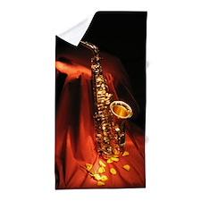 Red Saxophone Beach Towel