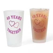 40th Anniversary Two Hearts Drinking Glass