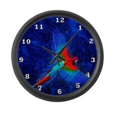 Blue Winged Macaw Large Wall Clock