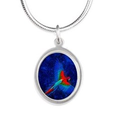 Blue Winged Macaw Silver Oval Necklace
