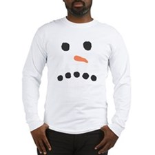Sad Unhappy Snowman Face Bah Humbug Long Sleeve T-