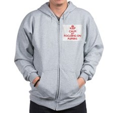 Keep calm by focusing on Puffers Zip Hoodie