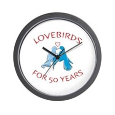 50th Anniversary Lovebirds Wall Clock