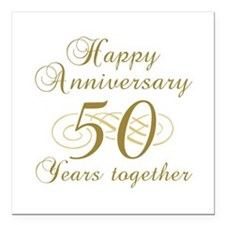 50th Anniversary (Gold Script) Square Car Magnet 3