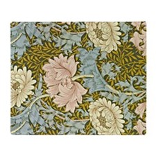 Chrysanthemum Pastels, vintage Willi Throw Blanket