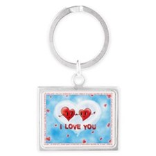Two Hearts I Love You Foreign L Landscape Keychain