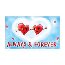 Always and Forever Two Hearts Rectangle Car Magnet