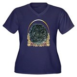 Black Chow Gold Ring Women's Plus Size V-Neck Dark