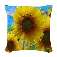 Giant Sunflower Garden Woven Throw Pillow