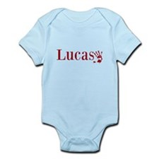Red Lucas Name Body Suit