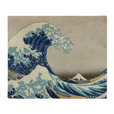 Great Wave off Kanagawa, vintage Jap Throw Blanket