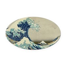 Great Wave off Kanagawa, vintage J Oval Car Magnet