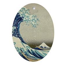 Great Wave off Kanagawa, vintage Jap Oval Ornament