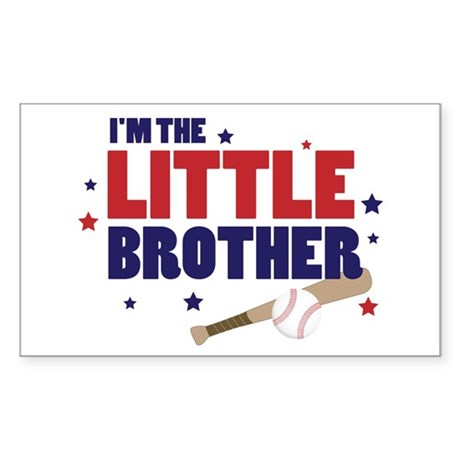 little brother baseball Rectangle Sticker