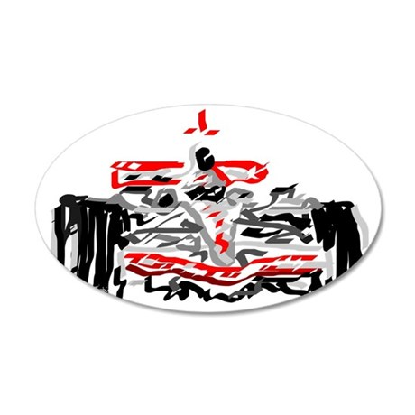 Race car 35x21 Oval Wall Decal