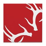 Antler Red Tile Coaster