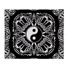 Yin and Yang on Intricate Pattern Throw Blanket