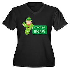 Lucky?? Women's Plus Size V-Neck Dark T-Shirt