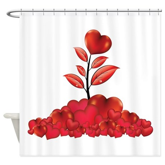 Love Grows Valentine Hearts Shower Curtain