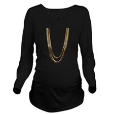 Gold Chains Long Sleeve Maternity T-Shirt