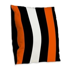 Orange Black And White Stripes Burlap Throw Pillow
