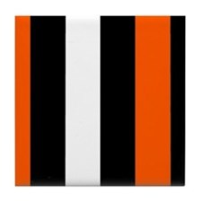 Orange Black And White Stripes Tile Coaster