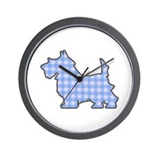 Blue Gingham Puppy Wall Clock