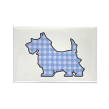 Blue Gingham Puppy Rectangle Magnet