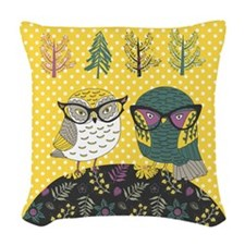 Trendy Owls Woven Throw Pillow