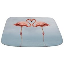 Pink Flamingos In Love Bathmat