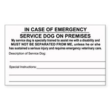 In Case of Emergency Service Dog on Premise Sticke