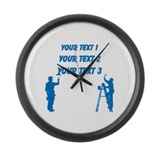 Painters and Blue Text Large Wall Clock