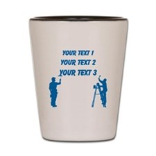 Painters and Blue Text Shot Glass