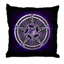 Purple Moon Pentacle Throw Pillow