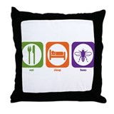 Eat Sleep Bees Throw Pillow