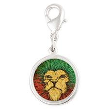 Rasta-Lion Silver Round Charm