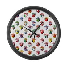 World Flags Soccer Balls Large Wall Clock