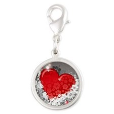 heart with wings Silver Round Charm