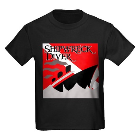 Shipwreck Diver Flag Kids Dark T-Shirt