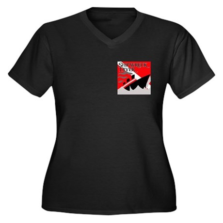 Shipwreck Diver Flag Women's Plus Size V-Neck Dark