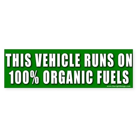 Organic Fuels Vehicle Bumper Sticker