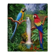 MACAW TROPICAL PARROTS Throw Blanket