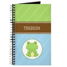 Green Frog (Blue/Green Stripe) Journal Add Name