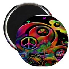 Lucky Peace Sign Collage Magnets
